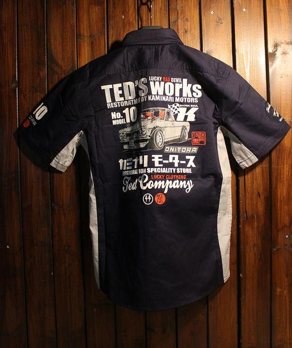 TEDMAN テッドマン TDKMS-02 TEDMAN×カミナリ ワークシャツ ハコトラ ネイビー/グレー