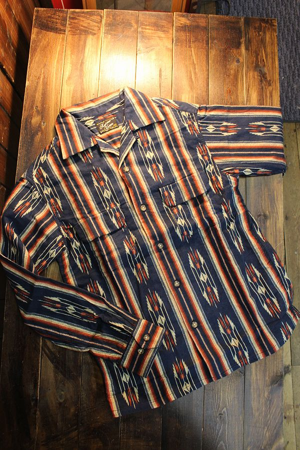 KOJIMA GENES 児島ジーンズ RNB-2014 アズテックパターンオープンシャツ ネイビー