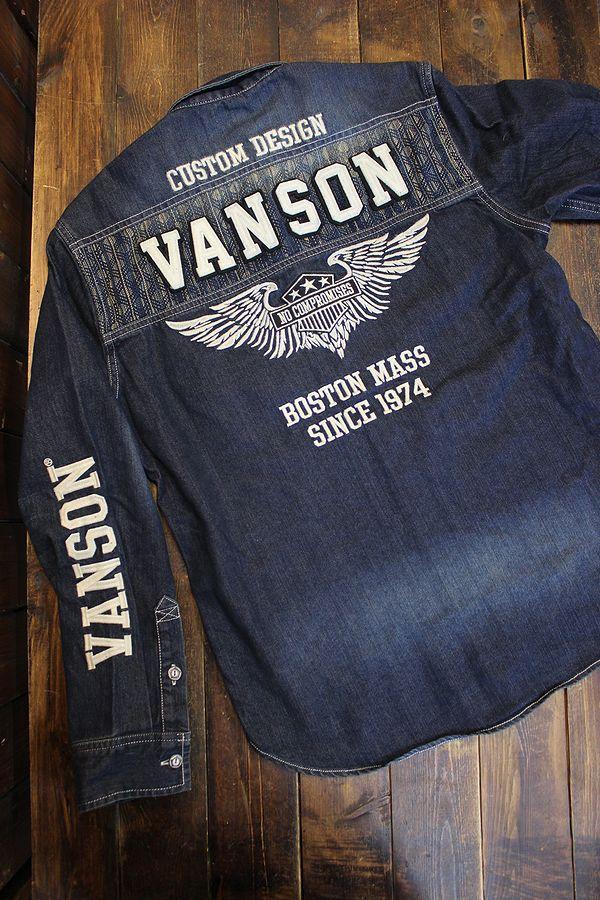 VANSON(バンソン) NVSL-2105 刺し子切り替えデニムシャツ INDIGO(USED WASH)