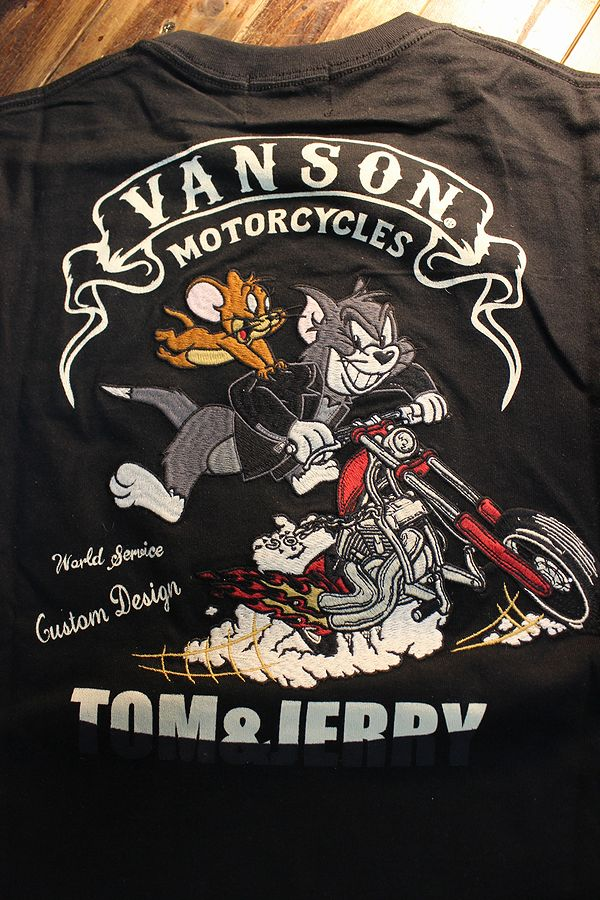 VANSON×Tom and Jerry トムとジェリーコラボ TJV-2026 天竺ロンTee 長袖Tシャツ ブラック
