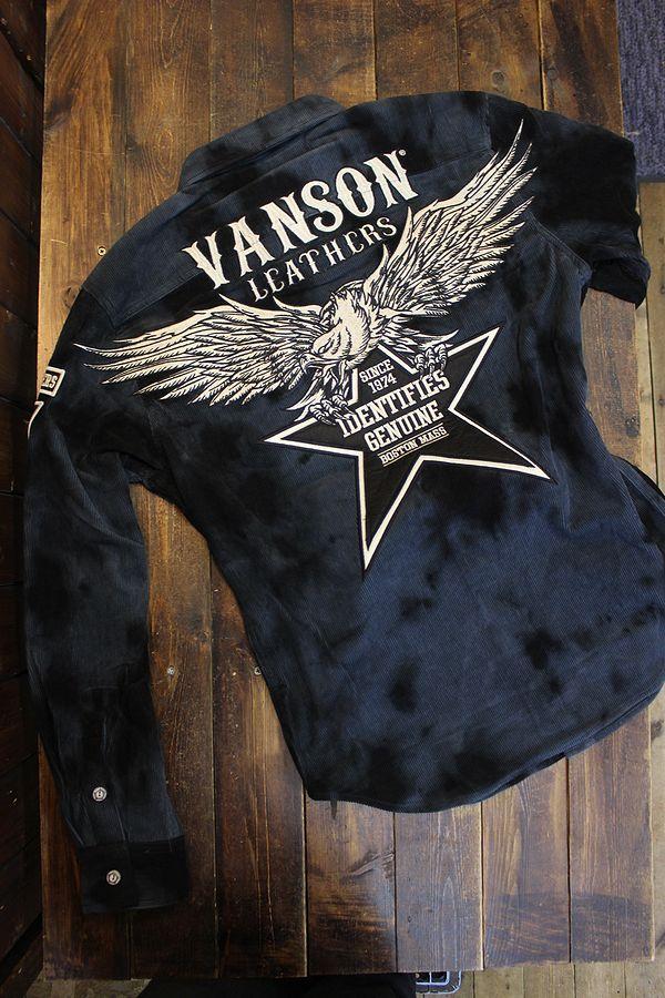 VANSON(バンソン) NVSL-2106 タイダイ染めコーデュロイシャツ ブラックタイダイ