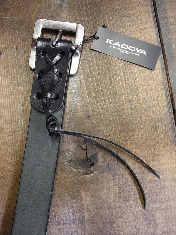 カドヤ(KADOYA)  SADDLE BELT (BLACK)  サドルベルト ヌメ革ベルト ブラック・黒