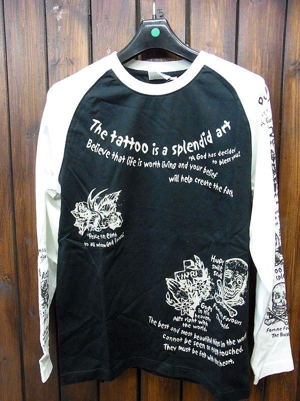 エフ商会 BLOOD MESSAGE BLLT-140 ロングスリーブTシャツ 長袖Tシャツ ロンT BLACK×WHITE/38