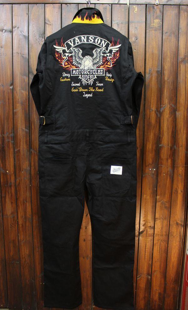 VANSON バンソン NVAO-2002 オールインワン 刺繍ツナギ ストレッチ ブラック