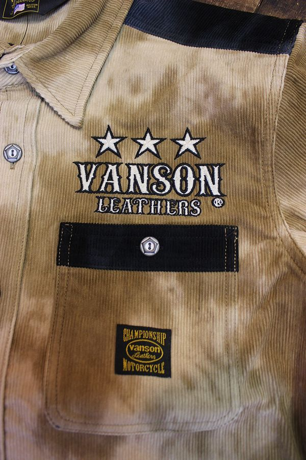 VANSON(バンソン) NVSL-2106 タイダイ染めコーデュロイシャツ ブラウンタイダイ