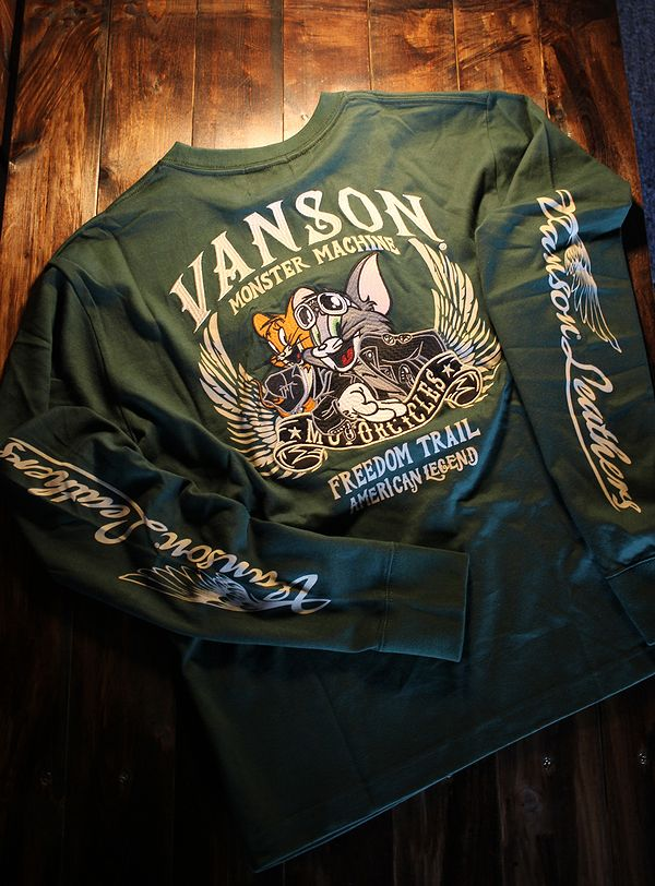 VANSON×Tom and Jerry トムとジェリーコラボ TJV-924 天竺ロンTee 長袖Tシャツ グリーン