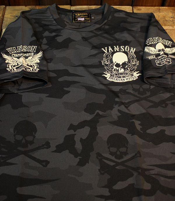 VANSON×CROWS×WORST 武装戦線 コラボ CRV-917 ドライ半袖Tee スカルTシャツ ブラックカモ