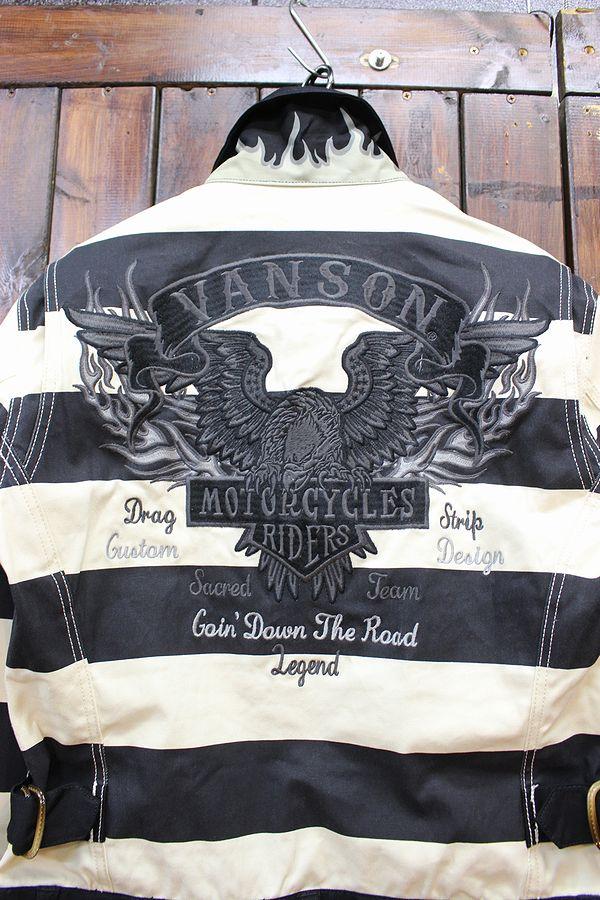 VANSON バンソン NVAO-2002 オールインワン 刺繍ツナギ ストレッチ ボーダー