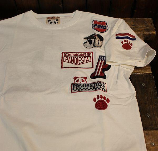 PANDIESTA JAPAN パンディエスタモータース 529205 熊猫ダートレースTee 白 ホワイト