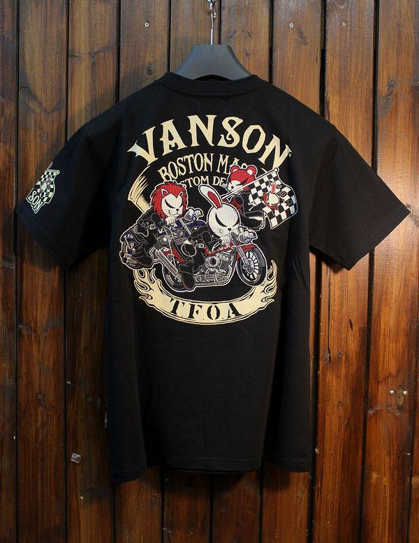VANSON×CROWS×WORST 武装戦線 コラボ CRV-914 天竺刺繍半袖Tee ブラック