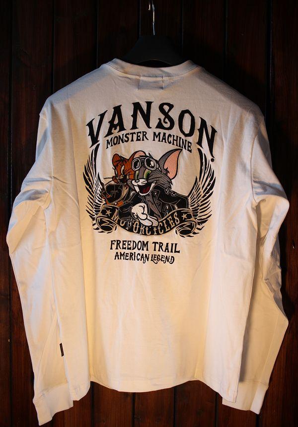 VANSON×Tom and Jerry トムとジェリーコラボ TJV-924 天竺ロンTee 長袖Tシャツ オフホワイト