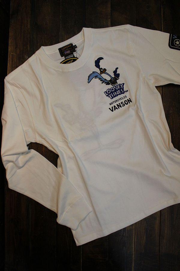 VANSON×LOONEY TUNES バンソン×ルーニー・テューンズコラボ LTV-2119 刺繍天竺ロンTee ロードランナー オフホワイト