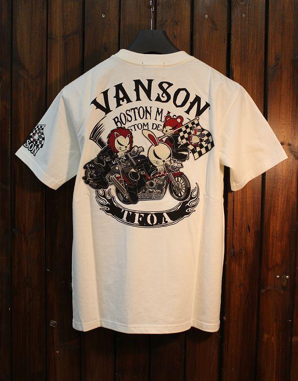 VANSON×CROWS×WORST 武装戦線 コラボ CRV-914 天竺刺繍半袖Tee オフホワイト