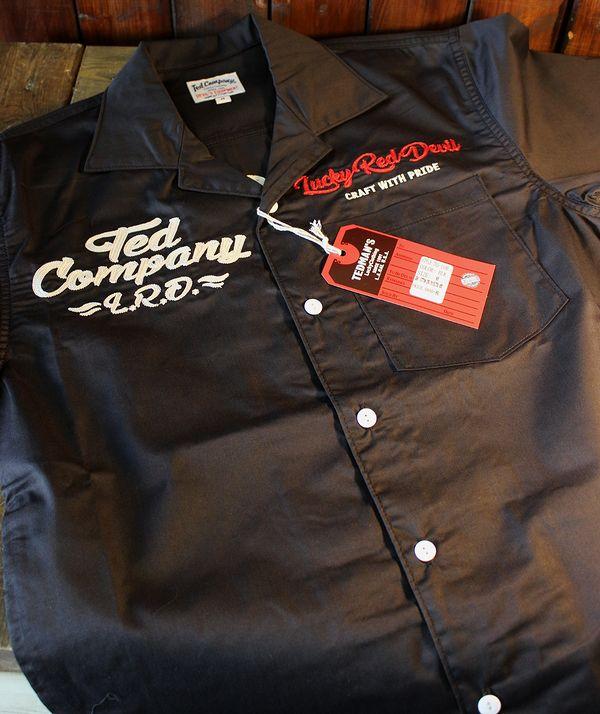 TEDMAN テッドマン TES-1100 オール刺繍シャツ  ブラック ワークシャツ