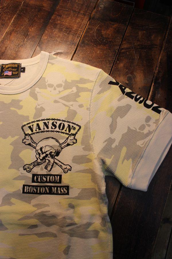 VANSON バンソン NVST-2101 サーマル半袖Tee スカル ナチュラルカモ