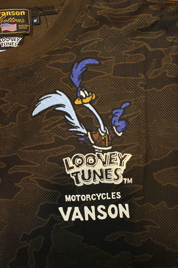 VANSON×LOONEY TUNES バンソン×ルーニー・テューンズコラボ LTV-2119 刺繍天竺ロンTee ロードランナー ブラウンカモ