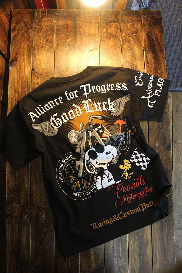 FLAG STAFF フラッグスタッフ×Snoopy スヌーピー 412005 天竺半袖Tee 刺繍 半袖Tシャツ バイク ブラック