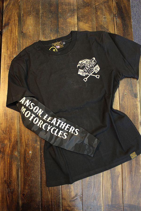 VANSON バンソン nvlt-2113 フェイクロンTEE 長袖Tシャツ メンズ イーグル ブラック(袖:ブラック迷彩)