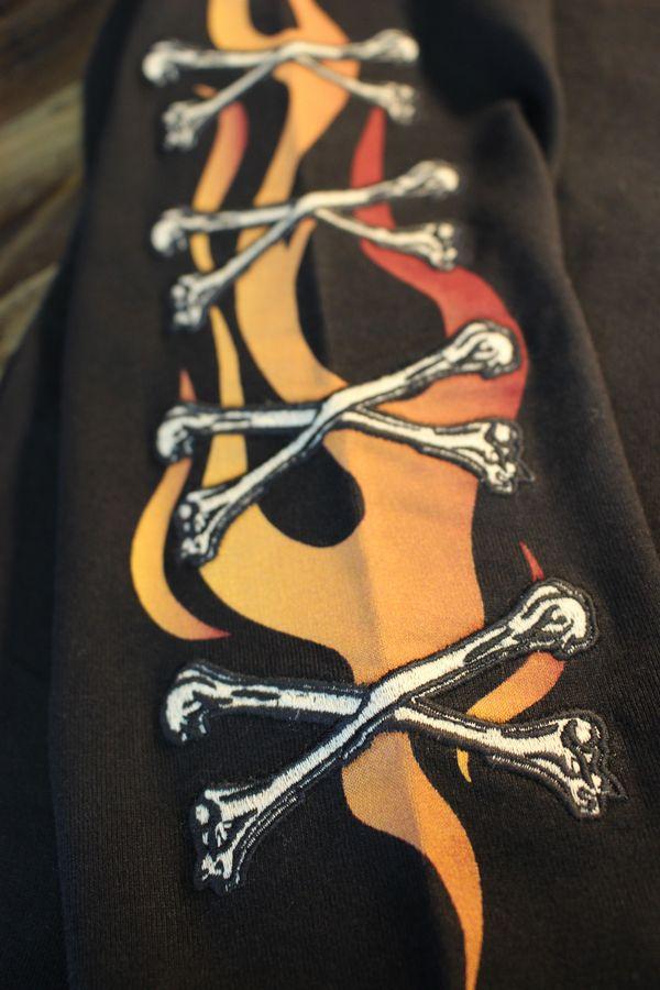 VANSON バンソン NVLT-2101 天竺ロンTee 刺繍 長袖Tシャツ スカル ブラック