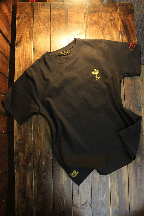 FLAG STAFF フラッグスタッフ×Snoopy スヌーピー 412006 天竺半袖Tee 刺繍 半袖Tシャツ バイク ブラック