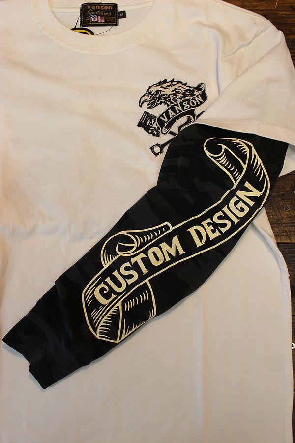 VANSON バンソン nvlt-2113 フェイクロンTEE 長袖Tシャツ メンズ イーグル オフホワイト(袖:ブラック迷彩)