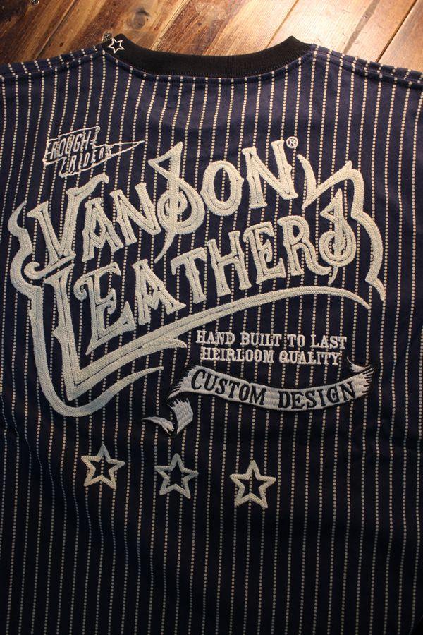 VANSON バンソン NVLT-2023 天竺ロンTee チェーン刺繍 胸ポケット付き 長袖Tシャツ ウォバッシュ
