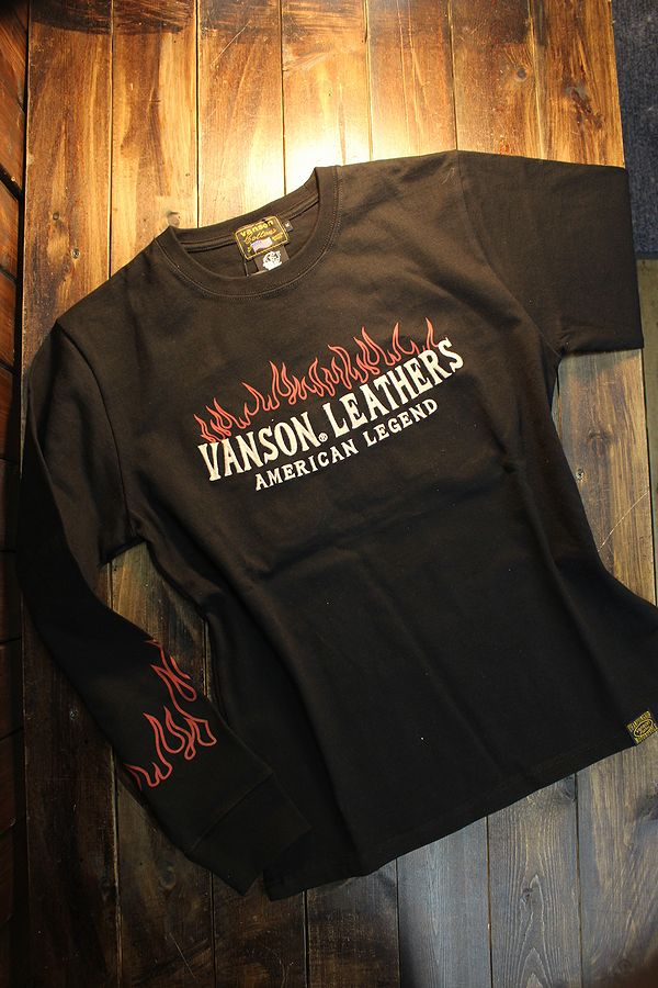 VANSON×Tom and Jerry トムとジェリーコラボ TJV-2102 天竺ロンTee 長袖Tシャツ ブラック