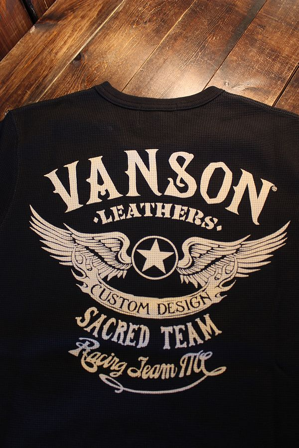 VANSON バンソン NVST-2102 サーマル半袖Tee ウイング 羽 ブラック