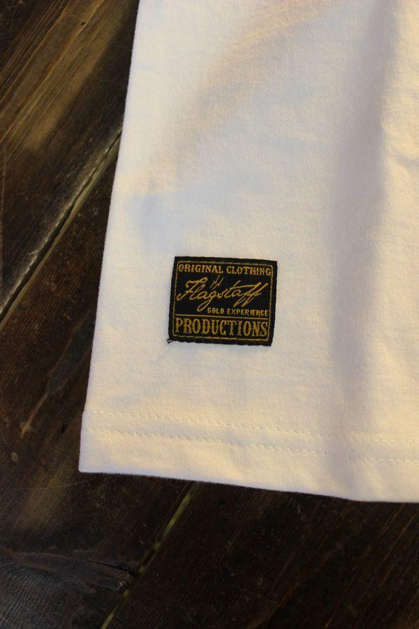FLAG STAFF フラッグスタッフ×Snoopy スヌーピー 412006 天竺半袖Tee 刺繍 半袖Tシャツ バイク ホワイト