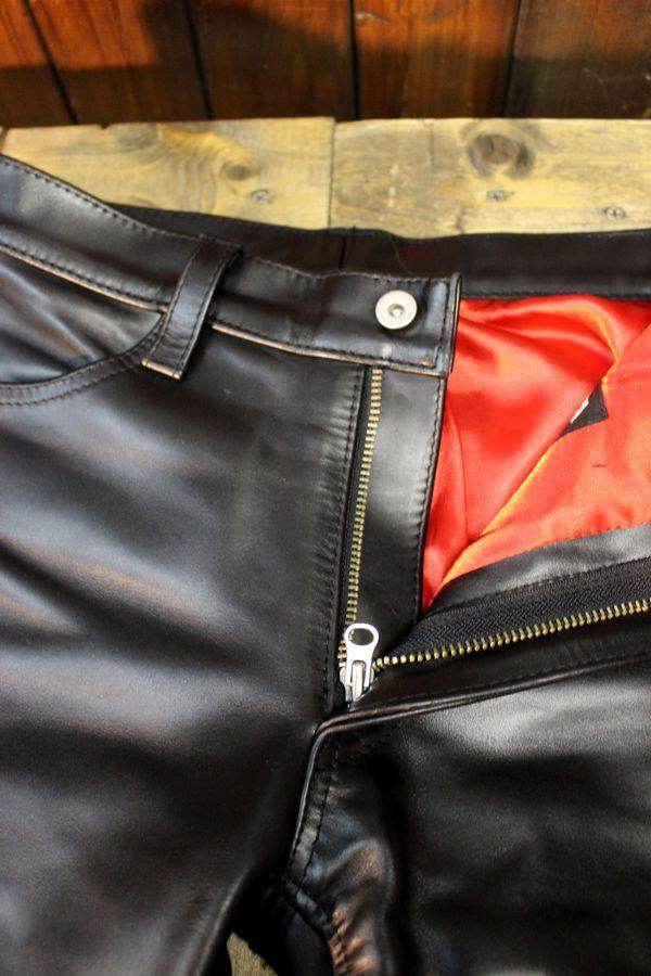 History別注 カドヤ(KADOYA) EVO-PANTS-H エボパンツ-ハード 硬い革サイドファスナー付き! レザーパンツ 革パンツ