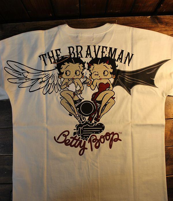 The BRAVE-MAN×BETTY BOOP ベティTシャツ BBB-2115 天竺半袖Tee エンジェルとデビル オフホワイト