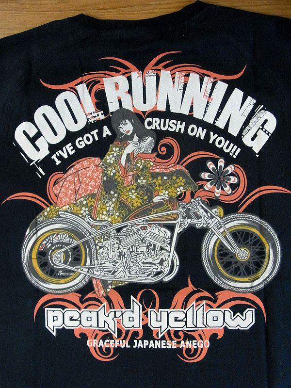 エフ商会 PEAK'D YELLOW(ピークドイエロー) PYT-197 コットンTシャツ ハーレー アメリカン ブラック