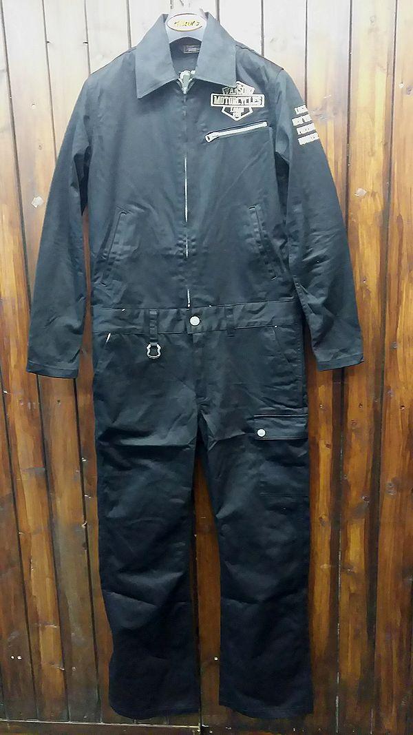 VANSON バンソン nvao-403 コットン オールインワン ツナギ ブラック