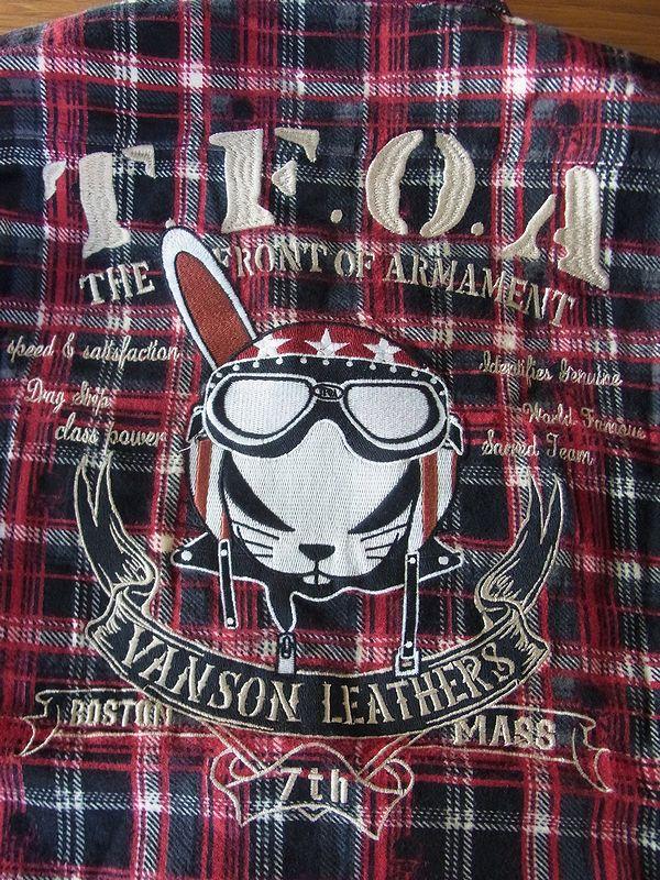 VANSON(バンソン)×武装戦線 TFOA デスラビット コラボ ネルシャツ 起毛チェックPTシャツ  crv-628