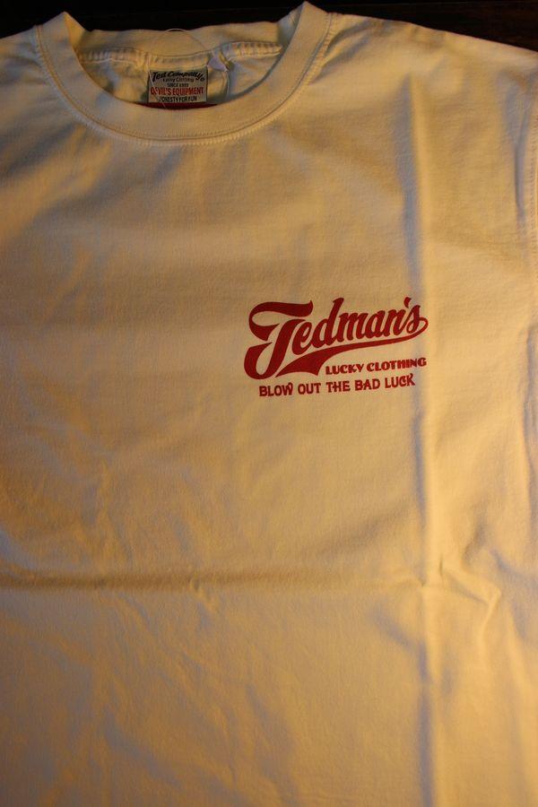 エフ商会 TEDCOMPANY TEDMAN(テッドマン) TDSS-512 BLOW OUT THE BAD LUCK コットンTシャツ オフホワイト