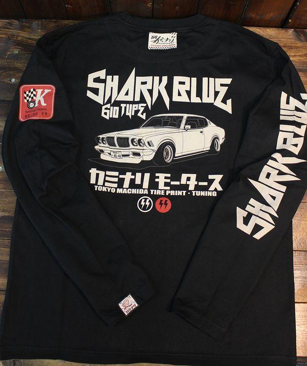エフ商会 カミナリ KMLT-192 サメブル 610 ブルーバード G6 長袖Tシャツ ブラック