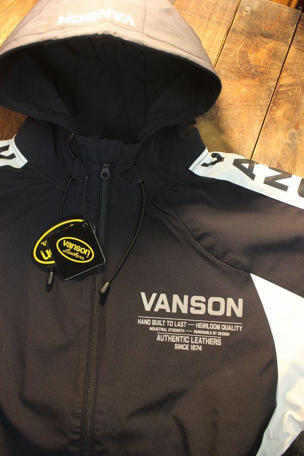 VANSON バンソン NVSZ-2102 三層ストレッチパーカー  高耐水・高撥水加工 ブラック