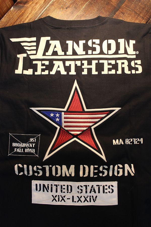 VANSON バンソン NVST-2103 天竺Tee ドライ素材フェイク袖付き ワンスター  ブラック/ブラックカモ