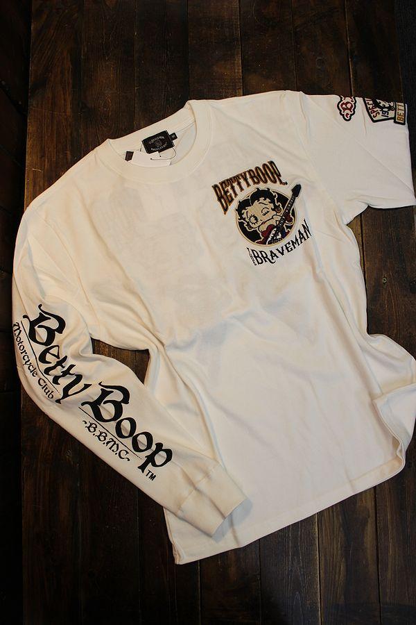 The BRAVE-MAN×BETTY BOOP ベティ長袖Tシャツ BBB-2131 天竺ロンTee 刺繍 オフホワイト