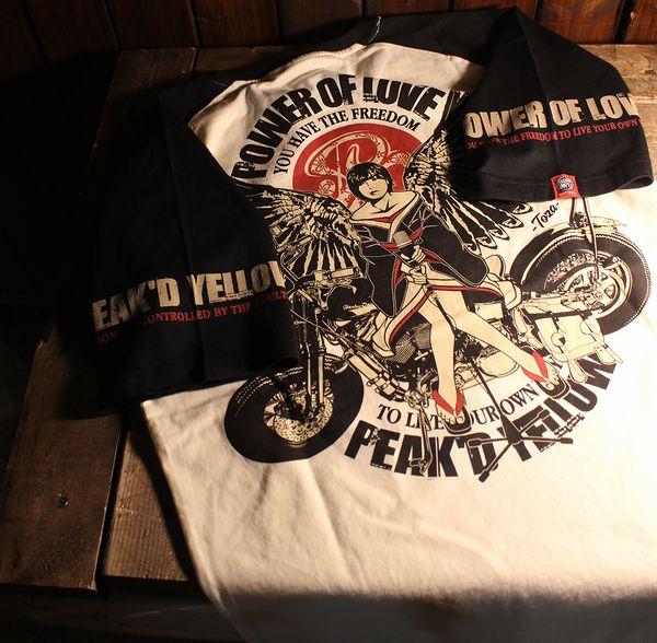 エフ商会 PEAK'D YELLOW(ピークドイエロー) PYT-215 アメリカンバイクTee コットンTシャツ