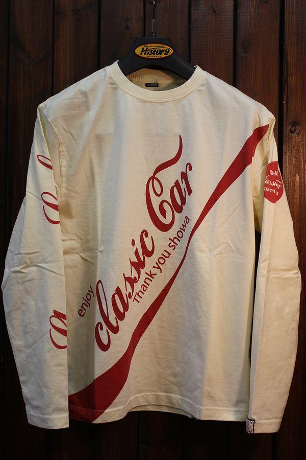 エフ商会 カミナリ KMLT-193 enjoy classic car サニトラコーラ 長袖Tシャツ オフホワイト