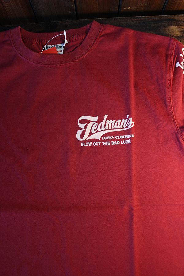 エフ商会 TEDCOMPANY TEDMAN(テッドマン) TDSS-512 BLOW OUT THE BAD LUCK コットンTシャツ ワイン