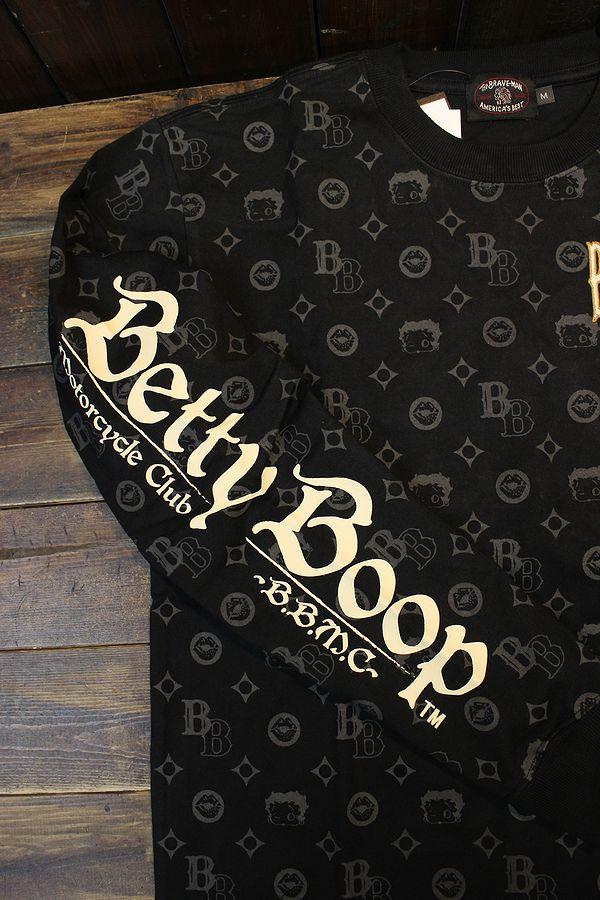 The BRAVE-MAN×BETTY BOOP ベティ長袖Tシャツ BBB-2131 天竺ロンTee 刺繍 モノグラム