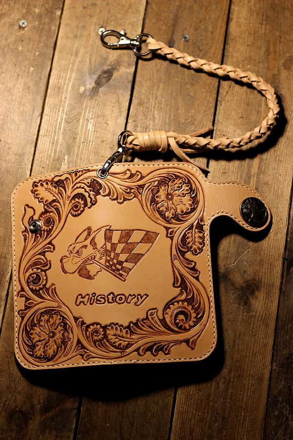 History別注 長財布 ロングウォレット カービング ウォレットロープ付き (右ポケット右きき用)