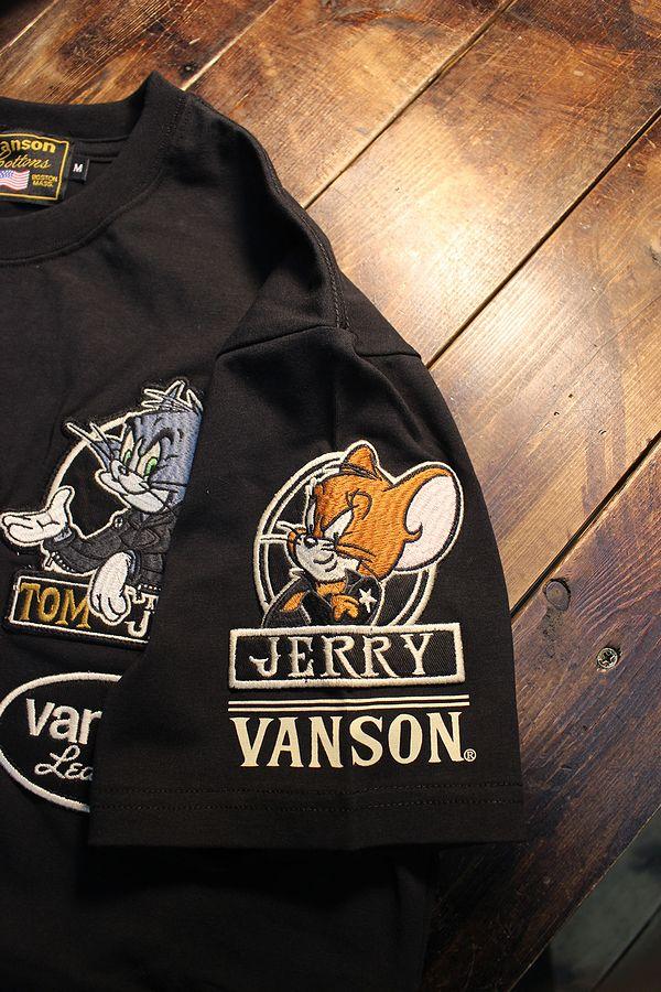 VANSON×Tom and Jerry トムとジェリーコラボ  TJV-2020 ベア天半袖Tee Tシャツ ブラック