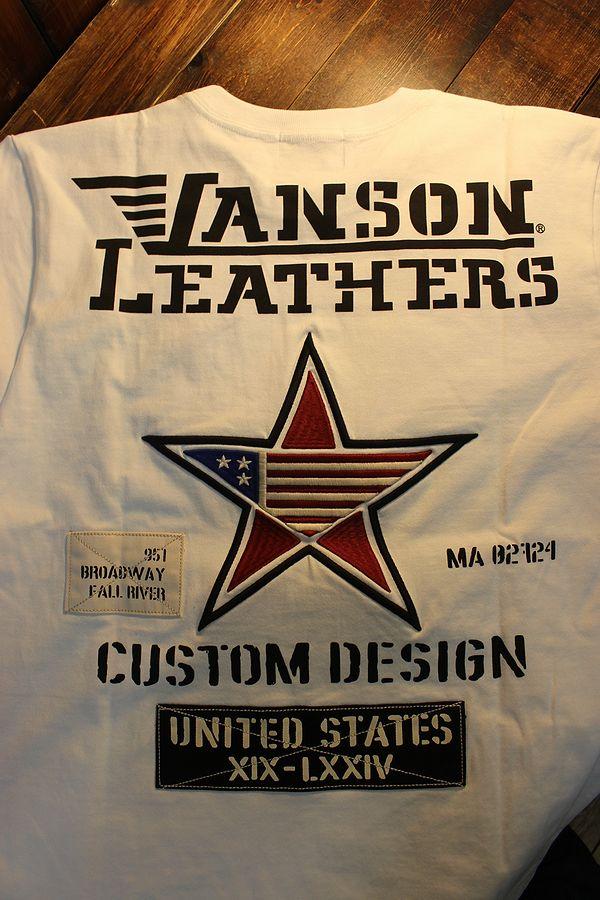 VANSON バンソン NVST-2103 天竺Tee ドライ素材フェイク袖付き ワンスター オフホワイト/オフカモ