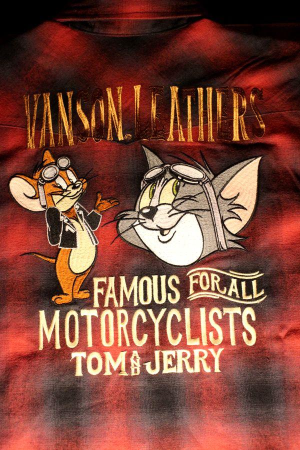 VANSON×Tom and Jerry トムとジェリーコラボ TJV-807 オンブレチェックシャツ