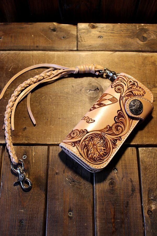 History別注 長財布 ロングウォレット(A) カービング ウォレットロープ付き (左のポケット右きき用)