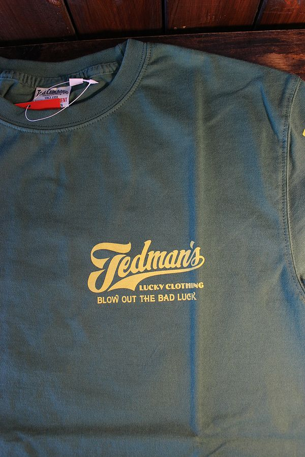 エフ商会 TEDCOMPANY TEDMAN(テッドマン) TDSS-512 BLOW OUT THE BAD LUCK コットンTシャツ グリーン