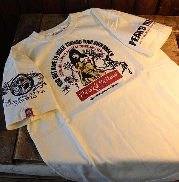 エフ商会 PEAK'D YELLOW(ピークドイエロー) PYT-214 骸骨 Tシャツ オフホワイト